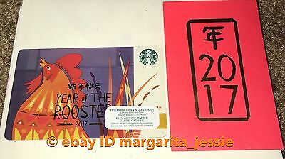 Starbucks Canada Chinese New Year Gift Card+Envelope Rooster Year 2017 No Value