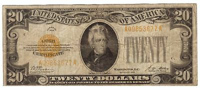 1928 $20 GOLD CERTIFICATE NOTE ~ RARE FIND ~ NO RESERVE ~ Woods / Mellon