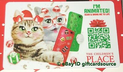 """The Children'S Place Gift Card """"social Media Christmas Cats"""" No Value New 2018"""