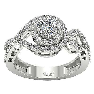 Halo Solitaire Engagement Round Cut Diamond Ring 1.45Ct 14KT White Gold SZ 4-12