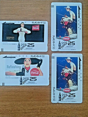 4 lot Coca-Cola Phone Cards-25 Year Anniversary Tone Bottling Co-Very Good-ASIAN