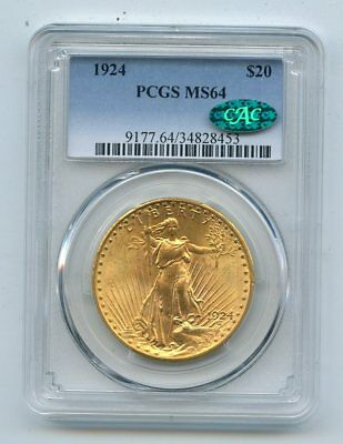 1924 Saint Gaudens $20 Double Eagle Gold Coin (MS64) PCGS & CAC