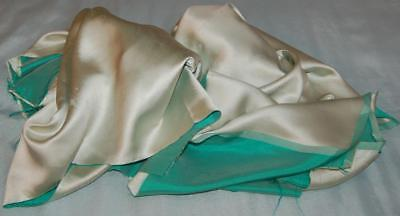 2 Vintage Fabric Scraps Satin Pale Green Sewing Craft Dolls c1950-60s