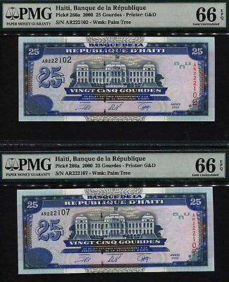 "TT PK 266a 2000 HAITI 25 GOURDES ""PALACE OF JUSTICE"" PMG 66 EPQ SET OF TWO NOTES"