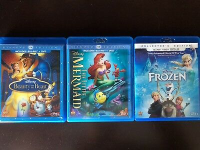 Disney Frozen, Beauty and the Beast, and the Little Mermaid Blu-Ray and DVD sets
