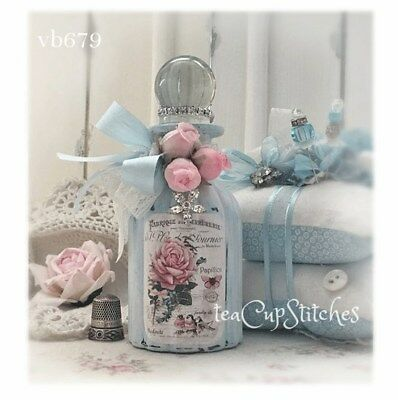 French Blue~Pink Roses~Birds~BOTTLE~Butterfly~Shabby Victorian Cottage Chic~B679