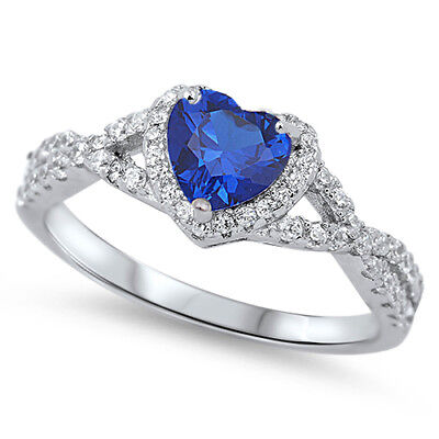 .925 Sterling Silver Heart Blue Sapphire CZ Fashion Promise Ring Size 4-12 NEW