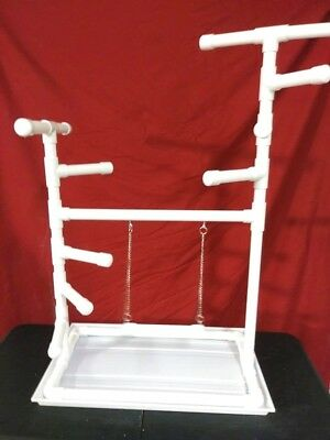 """42"""" Tall 1"""" PVC Macaw Perch  Stand  Swing  Play Gym w Pan **FREE SHIPPING!**"""