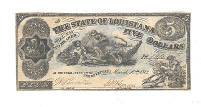 "1863 $5 State Of Louisiana Shreveport ""d"" Series Civil War Era Obsolete Currency"