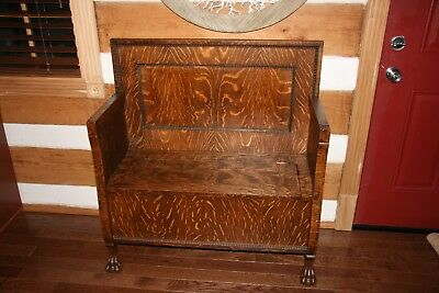 Antique Tiger Oak Hall Bench W/claw Feet - Nicely Refinished