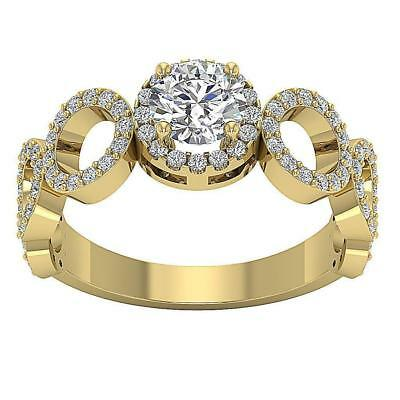 Halo Solitaire Anniversary Ring I1 H 1.55Ct Real Diamond 14K Yellow Gold SZ 4-12