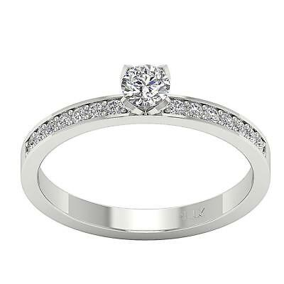 Solitaire Anniversary Natural Diamond Ring I1 H 0.76Ct 14Kt White Gold SZ 5-9