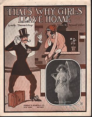 That's Why Girls Leave Home 1914 Large Format Sheet Music