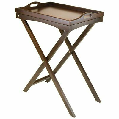 Pemberly Row Folding Butler Table with Serving Tray in Antique Walnut