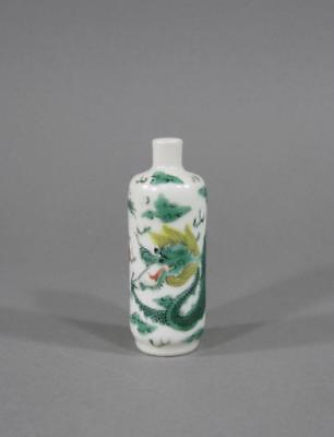 Nice Antique Chinese Famille Verte Dragon Snuff Bottle, 19THC, Rouleau