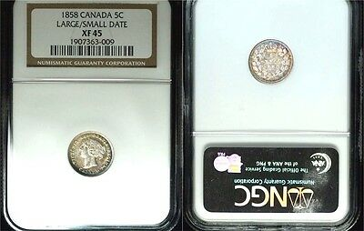 1858 Canada Victoria 5c Large Date over Small Date 5 Cents NGC XF 45 Silver Coin