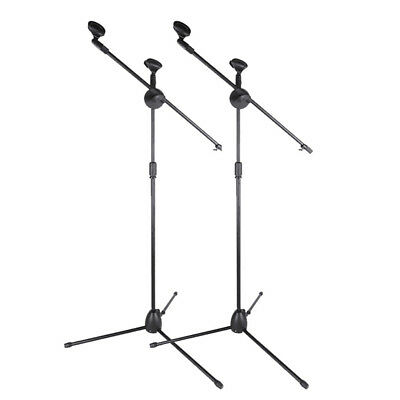 2pcs 360 Degree Rotating Microphone Stand Dual Mic Clip Boom Arm Foldable Tripod
