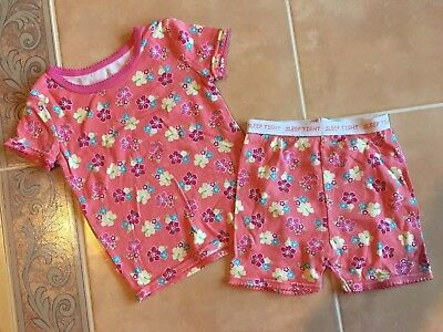 Girls Faded Glory Two Piece Pink Floral Summer Pajamas Size 3t