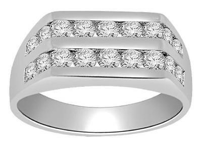 Mens Engagement Ring 1.01Ct Natural Diamond 7.85MM 14KT White Gold Channel Set