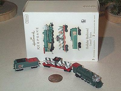 2008 Hallmark Keepsake Miniature 3Pc Set Holiday Railroad Lionel Trains Nib