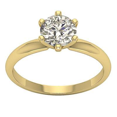 1.65Ct Round Solitaire Diamond Engagement Ring Prong Set 14Kt Yellow Gold 7.50mm
