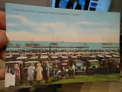 Vintage Old ONTARIO CANADA Postcard Toronto Canadian national Expo Parking Cars
