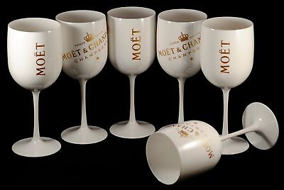 MC Moet Chandon Ice Imperial White Acrylic Champagne Glass Goblet Set x 6 New