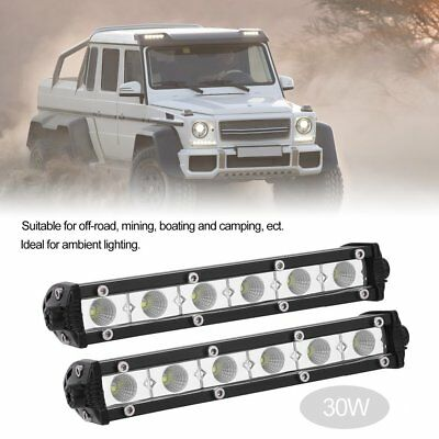 Pair 30W 7inch Slim LED Work Driving Light Bar Flood OFFROAD Reverse 4WD AE