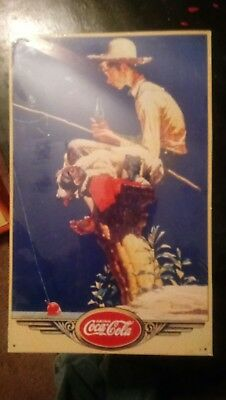 Coca Cola Coke vintage sign Norman Rockwell fishing boy RARE in original packing