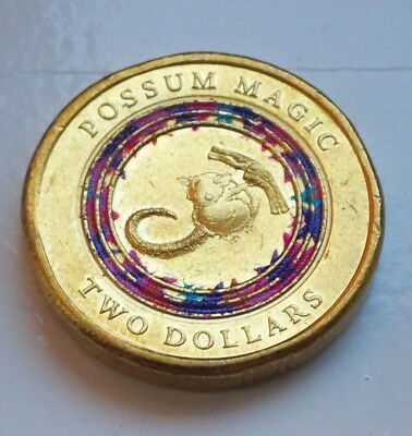 2017 $2 Australian Two Dollar POSSUM MAGIC Coloured coin - vegemite Circulated