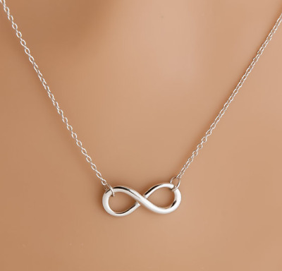 Solid 925 Sterling Silver Infinity Forever Figure 8 Love Necklace