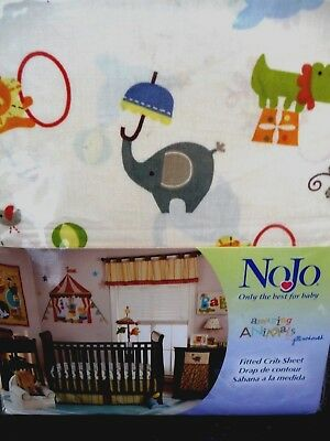 """NoJo Fitted Crib Sheet, """"Amazing Animals"""" Design. NEW."""