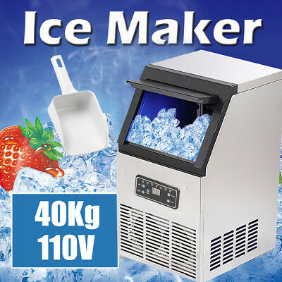 90Lbs Auto Commercial Ice Cube Maker Machines Stainless Steel Bar 110V 200W US