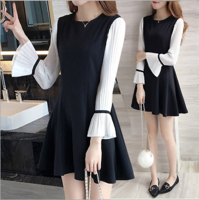 Korean Style Fashion Women / Girls Ladies Flare Sleeve Black A-Line Casual Dress