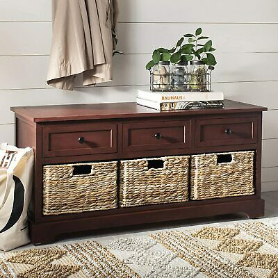 Solid Red Wooden Storage Bench Entryway Seat Mud Room Bedroom Entry Shoe Baskets