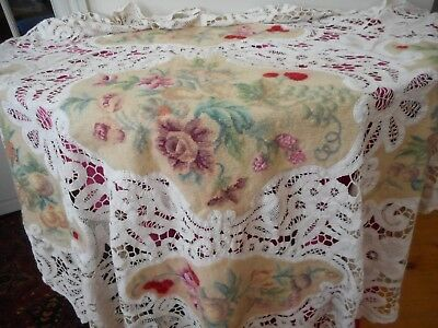 Large and heavy antique embroidered and lace cloth