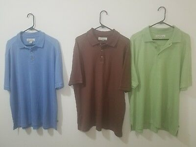 Lot Of 3 Tommy Bahama Relax Men's Short Sleeve Polo Shirt Size XL Silk Cotton