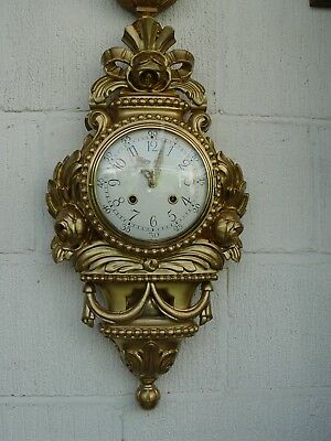 Swedish Westerand  gilded carved limewood cartel wall clock circa 1940