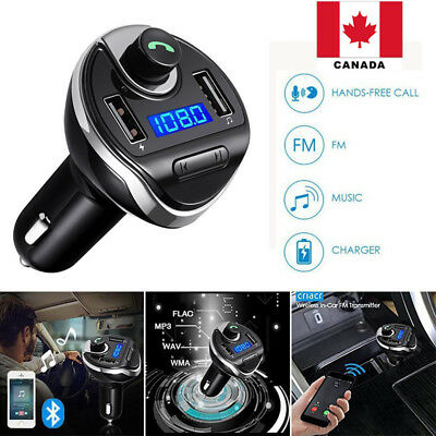 Bluetooth FM Transmitter In-Car Radio Adapter Car Kit with Dual USB Port CANADA