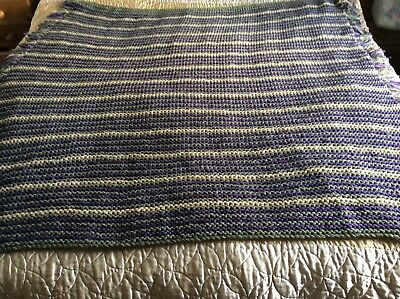 Bedspread, Thick  Double Size Blanket Handknitted On Large Needles fringed sides