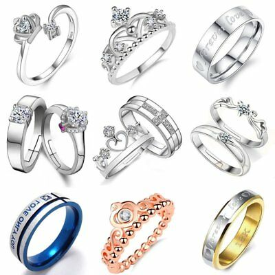 18K White GP & Stainless Steel CZ Crown Love Couple Promise Ring Wedding Gift