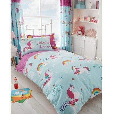 Rainbow Magical Unicorns Fairy Tale Girls Single Duvet Quilt Cover Bedding Set