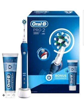 1E# Oral B PRO 2 2500 Rechargeable Electric Toothbrush BLUE
