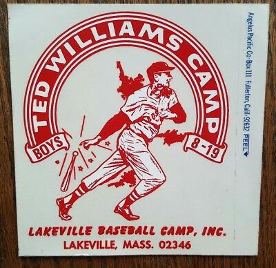 RARE VINTAGE Ted Williams Baseball Camp Lakeville Boys Decal Sticker Peel Off!!