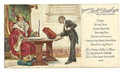 Old Trade Card Brookes Soap Monkey Brand Cleans Yachts Bicycles Anthropomorphic