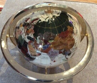 Stunnng Original Mother of Pearl & Gemstone World Globe with Compass