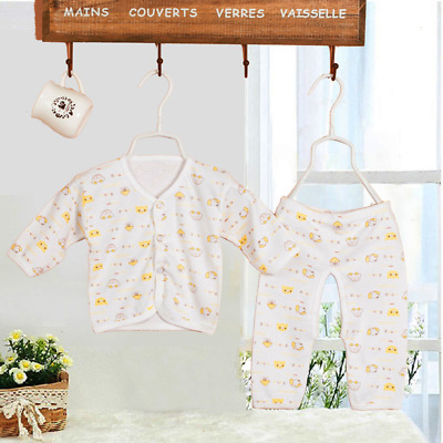 2Pcs Newborn Baby Clothing 0-3 Month Cotton Cartoon Gowns Tops+Pants Underwear