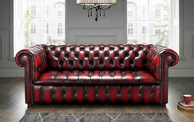 Chesterfield Edwardian 3 Seater Buttoned Seat Antique Oxblood Leather Sofa