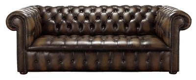 Chesterfield Edwardian 3 Seater Buttoned Seat Antique Brown Leather Sofa