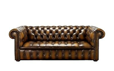 Chesterfield New Edwardian 3 Seater Buttoned Seat Antique Tan Leather Sofa Couch